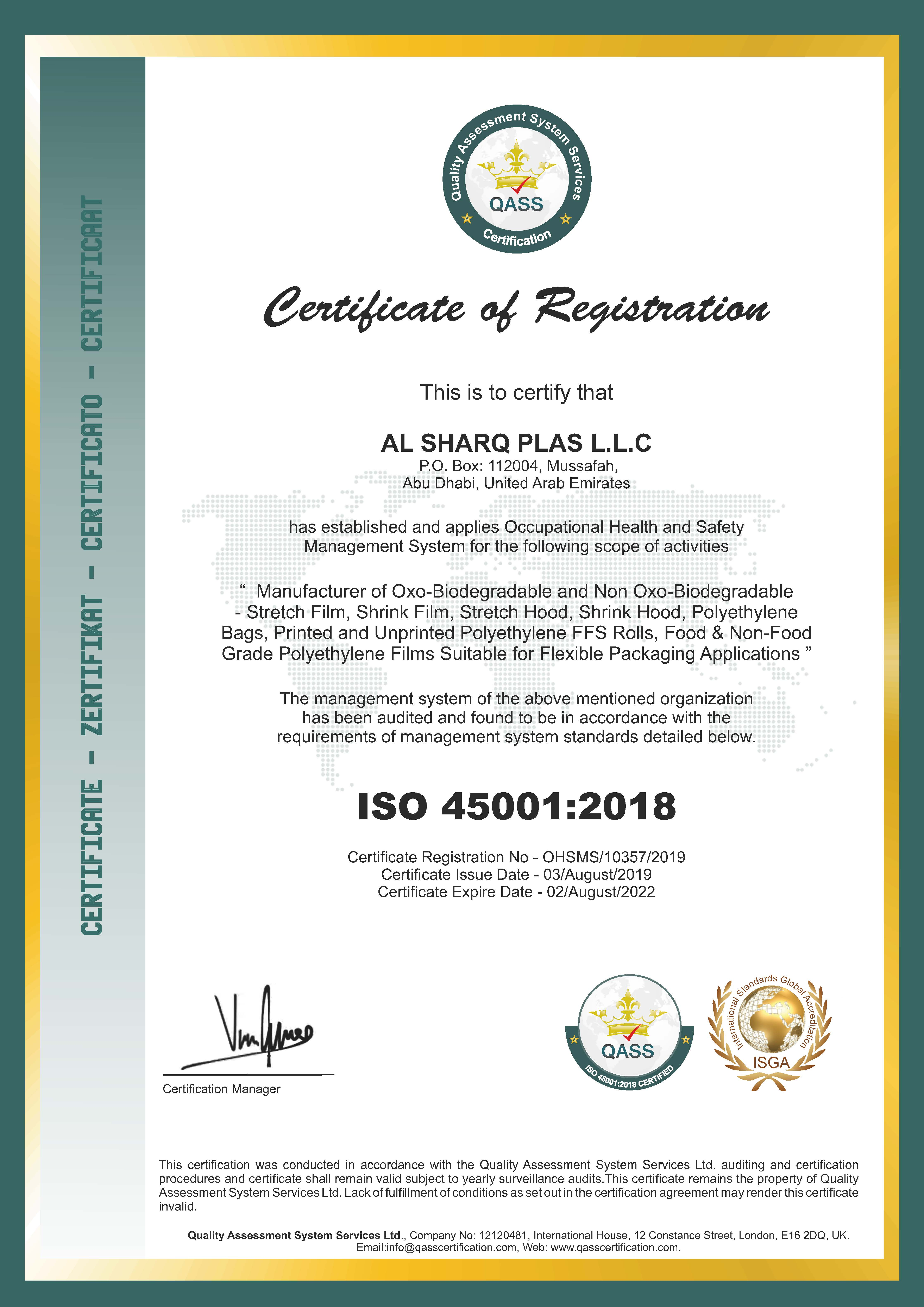 ISO 45001 CERTIFICATE